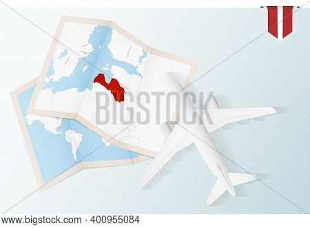 Travel To Latvia, Top View Airplane With Map And Flag Of Latvia. Travel And Tourism Banner Design.