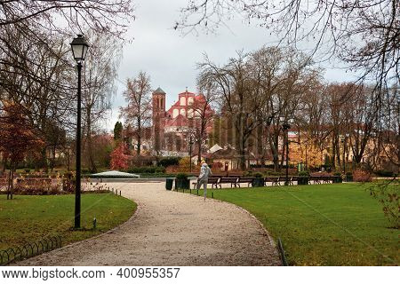 Vilnius, Lithuania - November 20, 2020: Vilnius Bernardinai Garden In The Late Autumn.