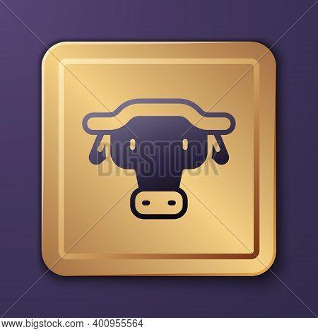Purple African Buffalo Head Icon Isolated On Purple Background. Mascot, African Savanna Animal. Wild