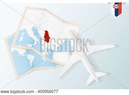 Travel To Serbia, Top View Airplane With Map And Flag Of Serbia. Travel And Tourism Banner Design.