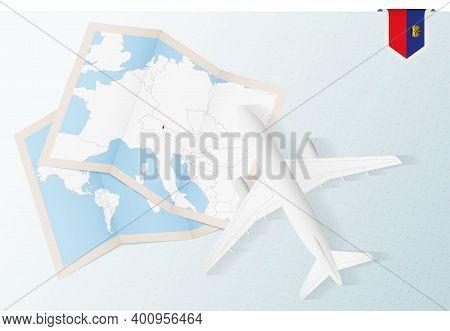 Travel To Liechtenstein, Top View Airplane With Map And Flag Of Liechtenstein. Travel And Tourism Ba