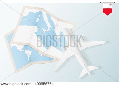 Travel To Malta, Top View Airplane With Map And Flag Of Malta. Travel And Tourism Banner Design.