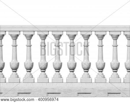 Balcony Railing Isolated On White Background. 3d Illustration.