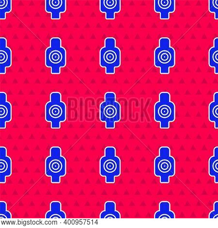 Blue Human Target Sport For Shooting Icon Isolated Seamless Pattern On Red Background. Clean Target