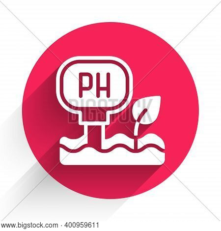 White Soil Ph Testing Icon Isolated With Long Shadow. Ph Earth Test. Red Circle Button. Vector