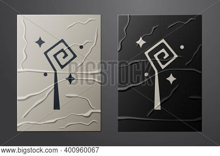 White Magic Staff Icon Isolated On Crumpled Paper Background. Magic Wand, Scepter, Stick, Rod. Paper