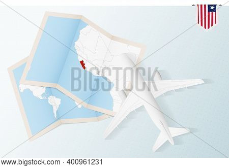 Travel To Liberia, Top View Airplane With Map And Flag Of Liberia.