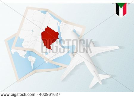 Travel To Sudan, Top View Airplane With Map And Flag Of Sudan.