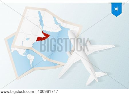 Travel To Somalia, Top View Airplane With Map And Flag Of Somalia.