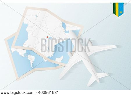 Travel To Rwanda, Top View Airplane With Map And Flag Of Rwanda.