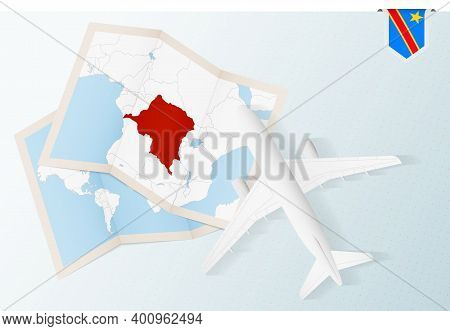 Travel To Dr Congo, Top View Airplane With Map And Flag Of Dr Congo.
