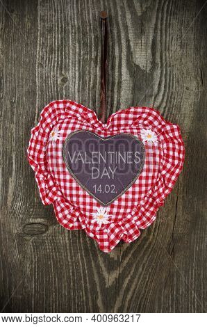 Red And White Heart On A Weathered Wood And Valentines Day And The German Word Valentinstag