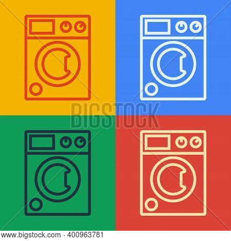 Pop Art Line Washer Icon Isolated On Color Background. Washing Machine Icon. Clothes Washer - Laundr