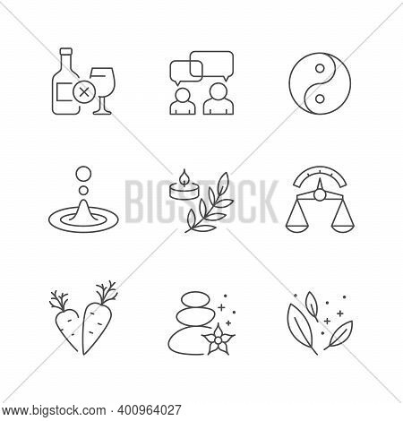 Set Line Icons Of Wellness Isolated On White. No Alcohol, Communication, Yon Yang, Aromatherapy, Bal