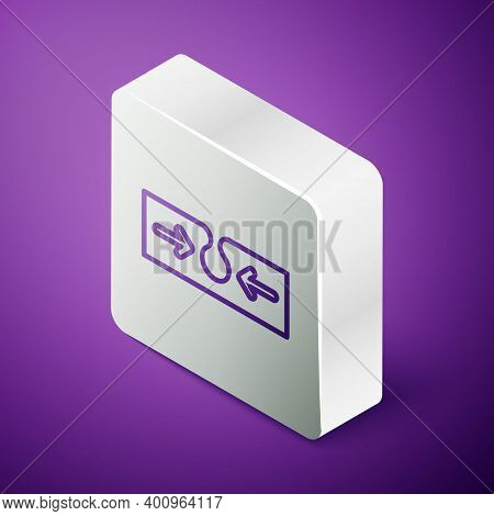 Isometric Line Acne Icon Isolated On Purple Background. Inflamed Pimple On The Skin. The Sebum In Th