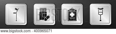 Set Crutch Or Crutches, Medicine Bottle And Pills, Medical Clipboard With Clinical Record And Crutch