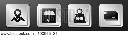 Set Placeholder On Map Paper, Umbrella, Weight And Envelope Icon. Silver Square Button. Vector