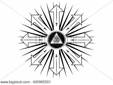 Ancient Magical Sigil, Occult Mystic Symbol Of Chaos For Witchcraft And Black Magic. Sacred Masonic