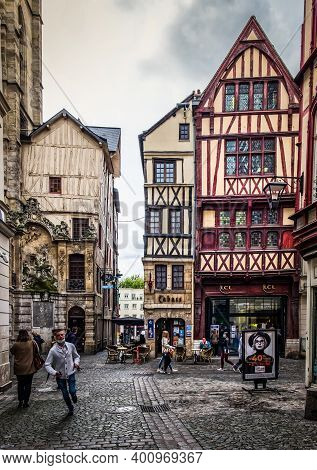 Rouen, France, Oct 2020, View Of  Gros-horloge Street In The Old Part Of The City