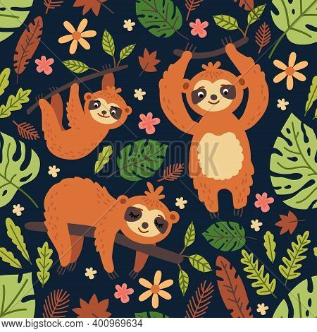 Vector Funny Sloth On Tree. Seamless Pattern With Cute Baby Sloth, Flowers, Branch. Adorable Animal
