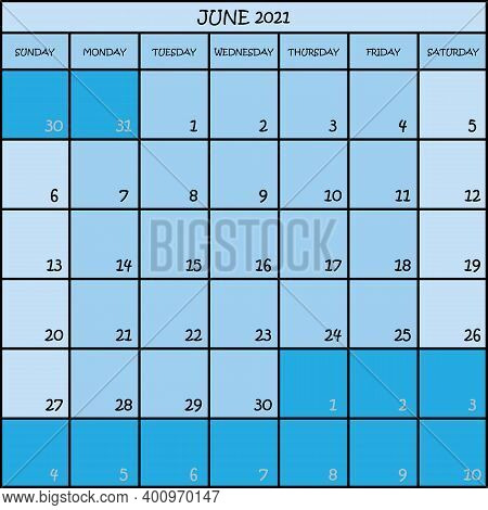 Calendar Planner Month June 2021 On Three Shades Of Blue Color Background