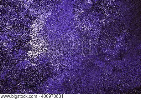 Deep Violet Winter Background Or Wallpaper. Rich Saturated Flashy Color. Tinted Purple Grainy Backdr