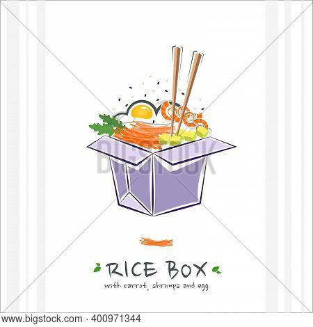 Rice Box With Carrot, Shrimps And Egg. Healthy Food Design Template. Illustration With Takeaway Poke