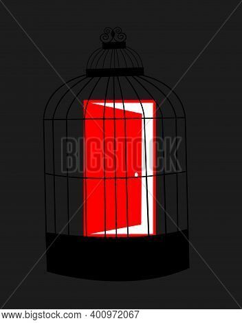 Illustration Of A Red Door Being Captive In A Bird Cage, Isolate Don A Grey Dark Background