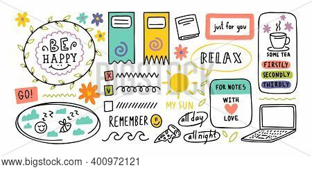 Diary Cute Note Elements. Hand Drawn Doodles Bullet Journal Banners.