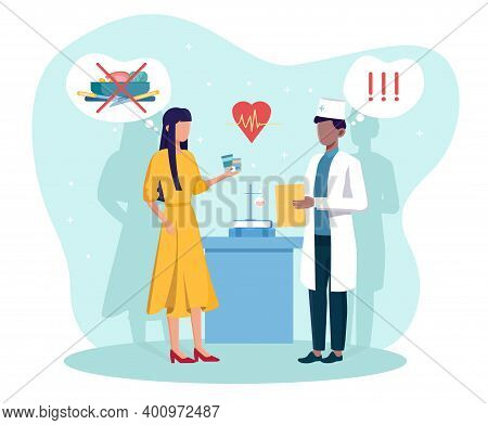 Male Doctor Gives Prescription Medicine To Woman With Anorexia. Concept Of Eating Disorders, Psychol