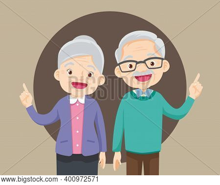 Elderly Couple Pointing Finger Up, Isolated On White Background,old Man And Woman Finger Pointing Wi