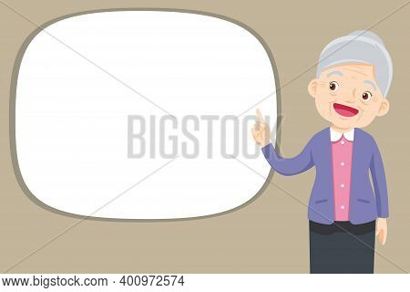 Elderly Woman Pointing Finger Up, Isolated On White Background,old Lady Finger Pointing With Empty S