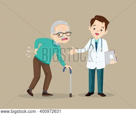 Elderly Man Suffering From Back Pain.old Man With A Cane.grandfather Suffering From Back Pain. Senio