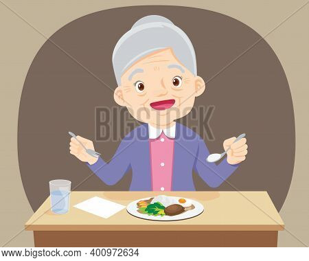 Old Senior Woman Happy Eat Food, Grandmother Want To Eat. Elderly Eating, Healthy Food Concept For T