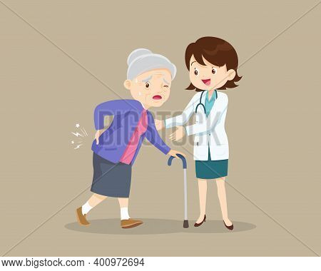 Elderly Woman Suffering From Back Pain.old Woman With A Cane.grandmother Suffering From Back Pain. S