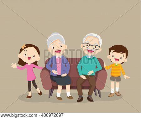 Grandparents And Grandchildren. Group Of People Standing. Little Boy, Teenager Girl,happy Grandparen