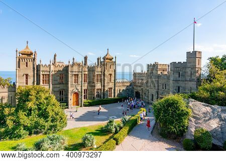 Crimea - August 2020: Vorontsov Palace And Gardens In Alupka, South Crimea