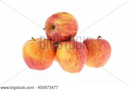Whole And Half Red Gala Apple With Green Leaves Isolated On White Background