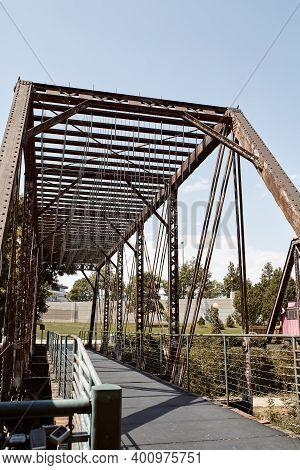 Various Steel Pedestrian Bridges Along Pathway Of Cherry Creek Trail In Downtown, Denver.  Denver, C