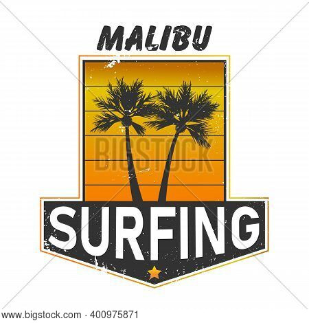 Malibu Surfing Paradise - Vector Vintage Print For Girl T-shirt In Custom Colors, Grunge Effect In S