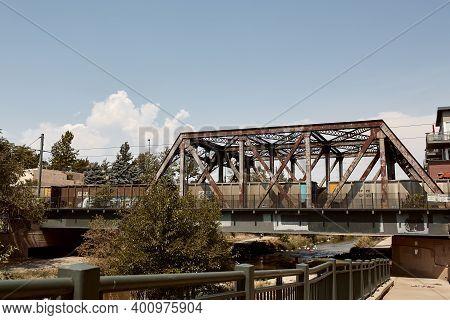 Denver, Colorado - August 4th, 2020:  Various Steel Pedestrian Bridges Along Pathway Of Cherry Creek
