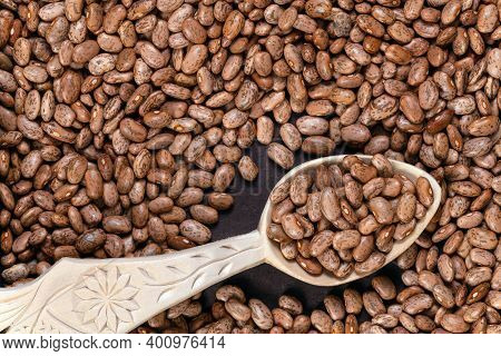 Pinto Beans Or Speckled Beans Background And Texture. Top View.