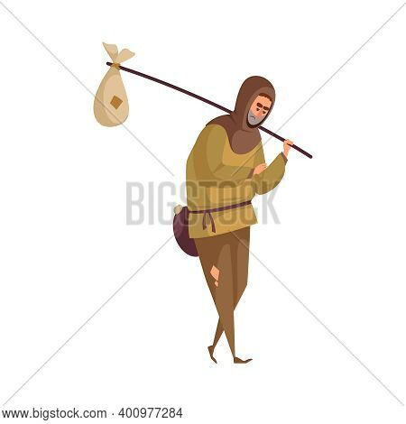 Poor Medieval Man Wandering With Fardel On White Background Cartoon Vector Illustration
