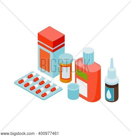 Isometric Cold Flu Virus Composition With Medical Products For Curing Seasonal Infections Vector Ill