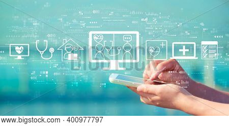 Telehealth Theme With Person Holding A White Smartphone