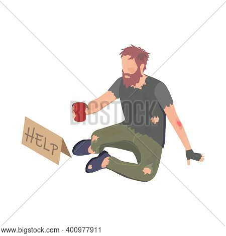 Poor Person With Donation And Volunteering Symbols Isometric Isolated Vector Illustration