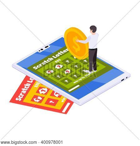 Lottery Isometric With Scratching Cards And Lottery Tickets Vector Illustration