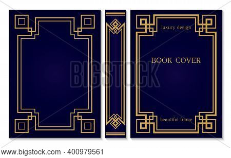 Geometric Design Of The Book Cover And Spine. Back And Front Cover In Art Deco Style. Ornate Gold Fr