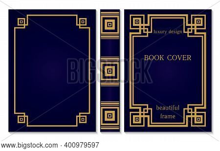 Abstract Book Cover And Spine Design. Vintage Old Frames And Ornaments. Luxury Gold And Dark Blue St