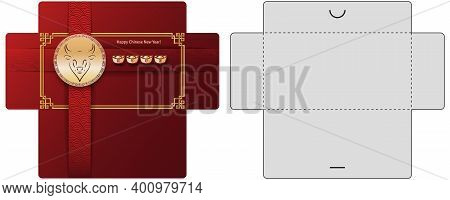 Envelope With Red Background And Gold Ox Head. Chinese Money Packet Template. 2021 Year Of Metal Bul